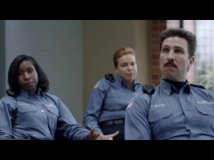 Lolita Foster, Catherine Curtin, and Pablo Schreiber as CO Maxwell, CO Wanda Bell, and CO George ( Pornstache) Mendez ( Screen: Netflix)