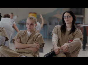Madeline Brewer as Tricia Miller and Laura Prepon as  Alex Vause